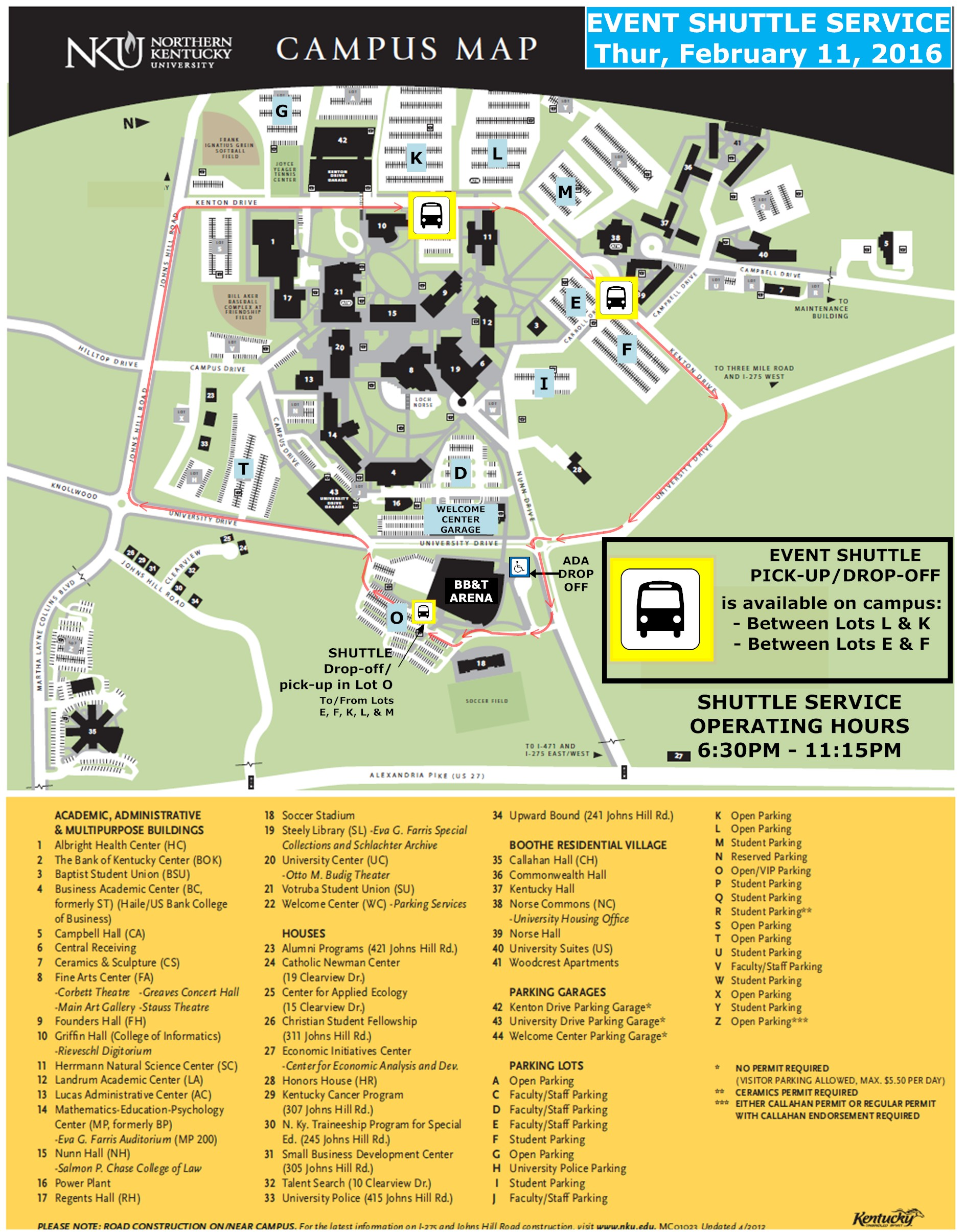 Kentucky Campus Map.Parking Information